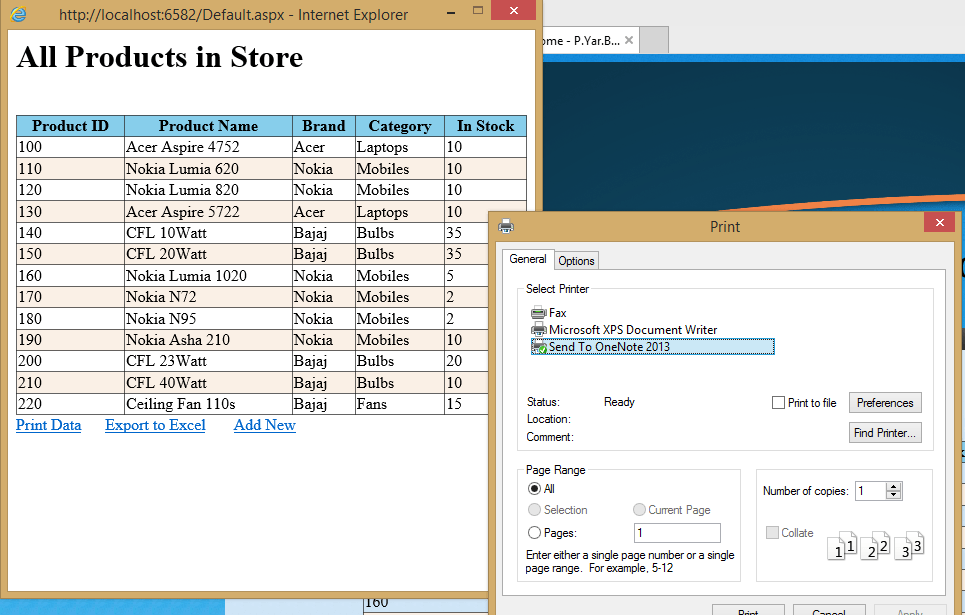 Print GridView only in ASP.NET