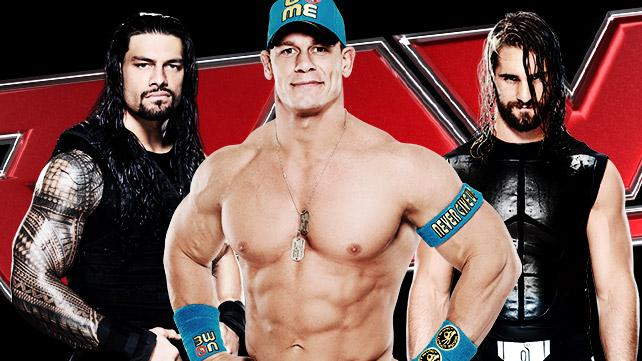 John Cena with Roman Reigns and Seth Rollins