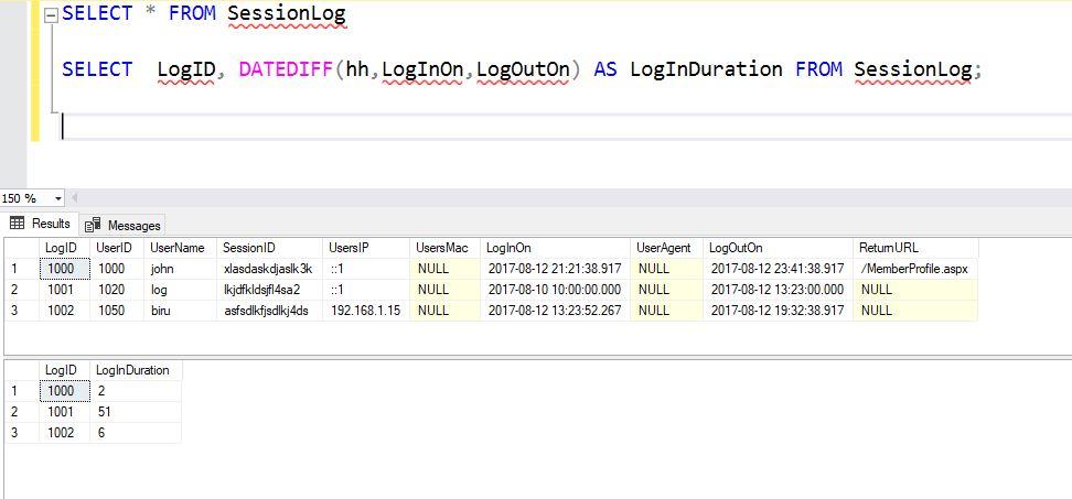 SQL Output of DATEDIFF method