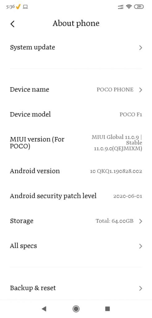 POCO F1 Android 10 update MIUI Build V11.0.9.0.QEJMIXM available 13