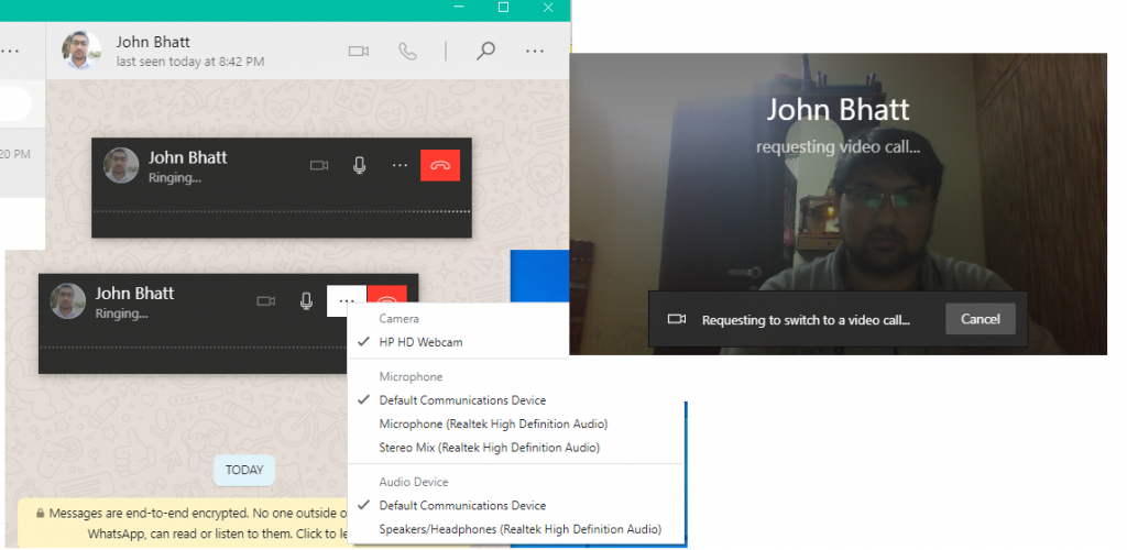 Different functionality available while making call on WhatsApp Desktop